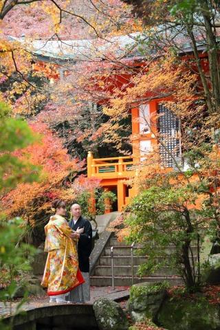 161236_京都_紅葉 和装 毘沙門堂